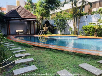 Bright villa with a garden and a pool is for rent in District 2