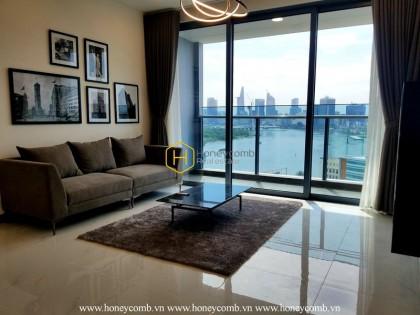 Cho thuê căn hộ cao cấp Sunwah Pearl với tông nề trắng đen hòa cùng màu gỗ nhẹ nhàng