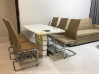 Modern furniture in this brand new apartment for rent in Masteri An Phu