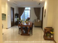 The classical apartment with wooden furniture in Vinhomes Central Park for lease