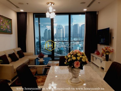 Warming modern space with soothing lightning in Vinhomes Golden River apartment for rent