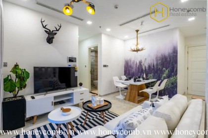 The 2 bedrooms-apartment with Scandinavian style is very impressive in Vinhomes Golden River