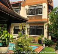 Spacious villa in District 2 with elegant wooden interiors and air swimming pool