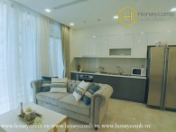 You will be fascinated with high-class furniture and warm tones of this 2 bed-apartment at Vinhomes Golden River