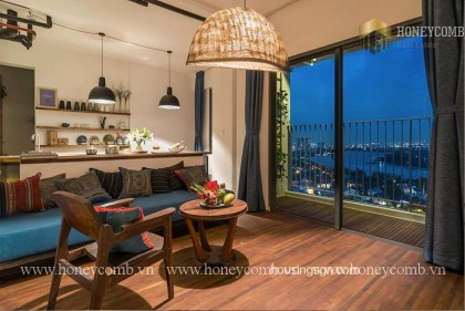 Fully furnished 2 beds apartment with cool colored design in Masteri Thao Dien